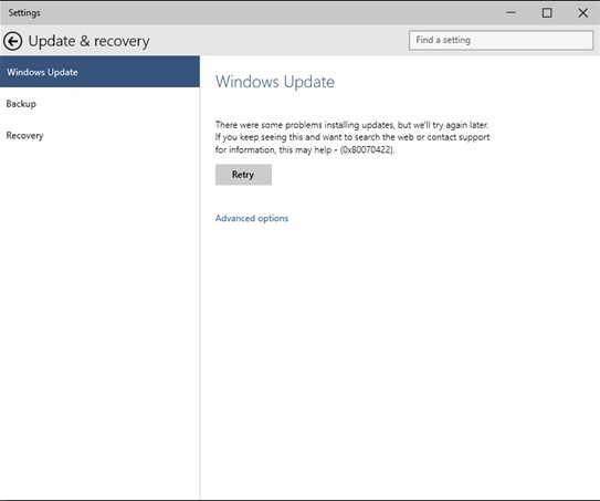 Windows 10 update Error Message