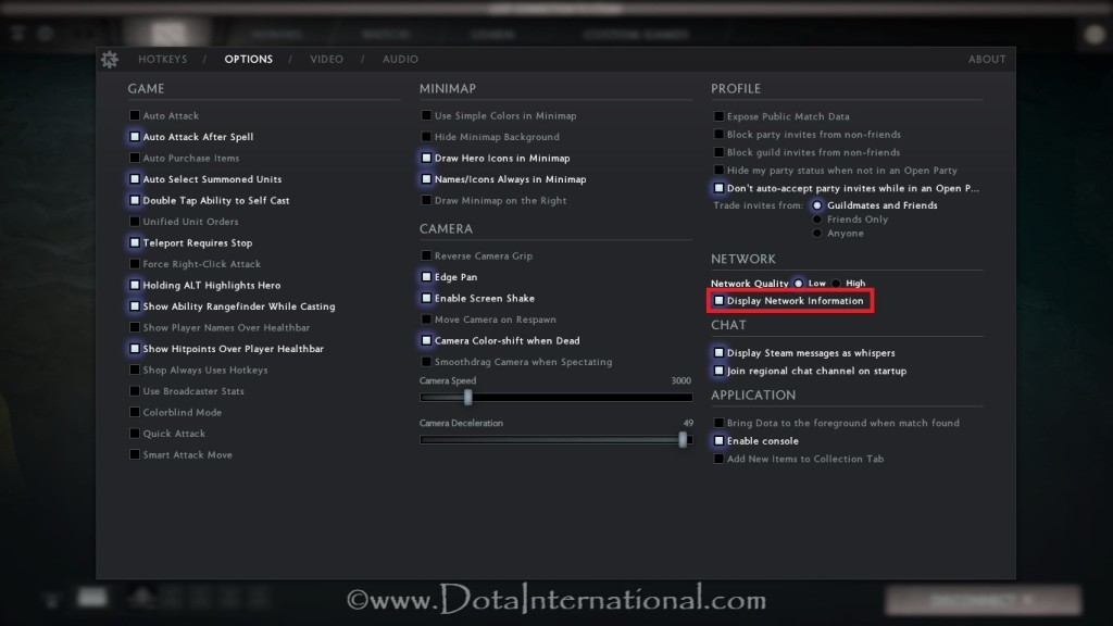 Activate Dota 2 Network Information in game