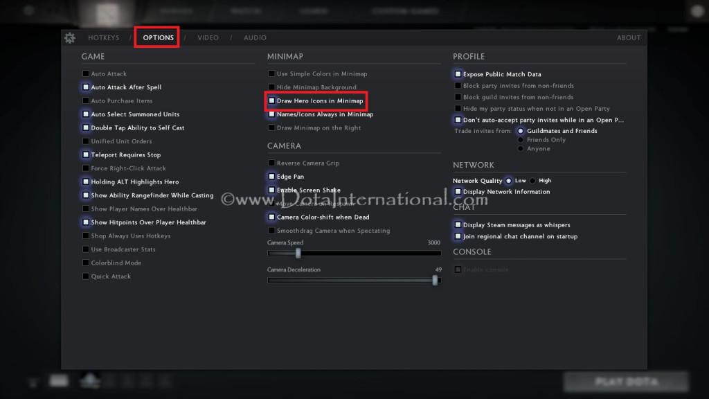 How to show hero icons in Minimap Dota 2