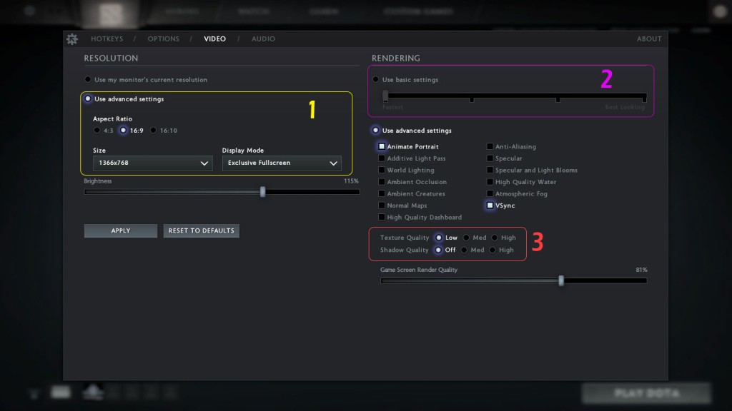 Video Settings for Dota 2