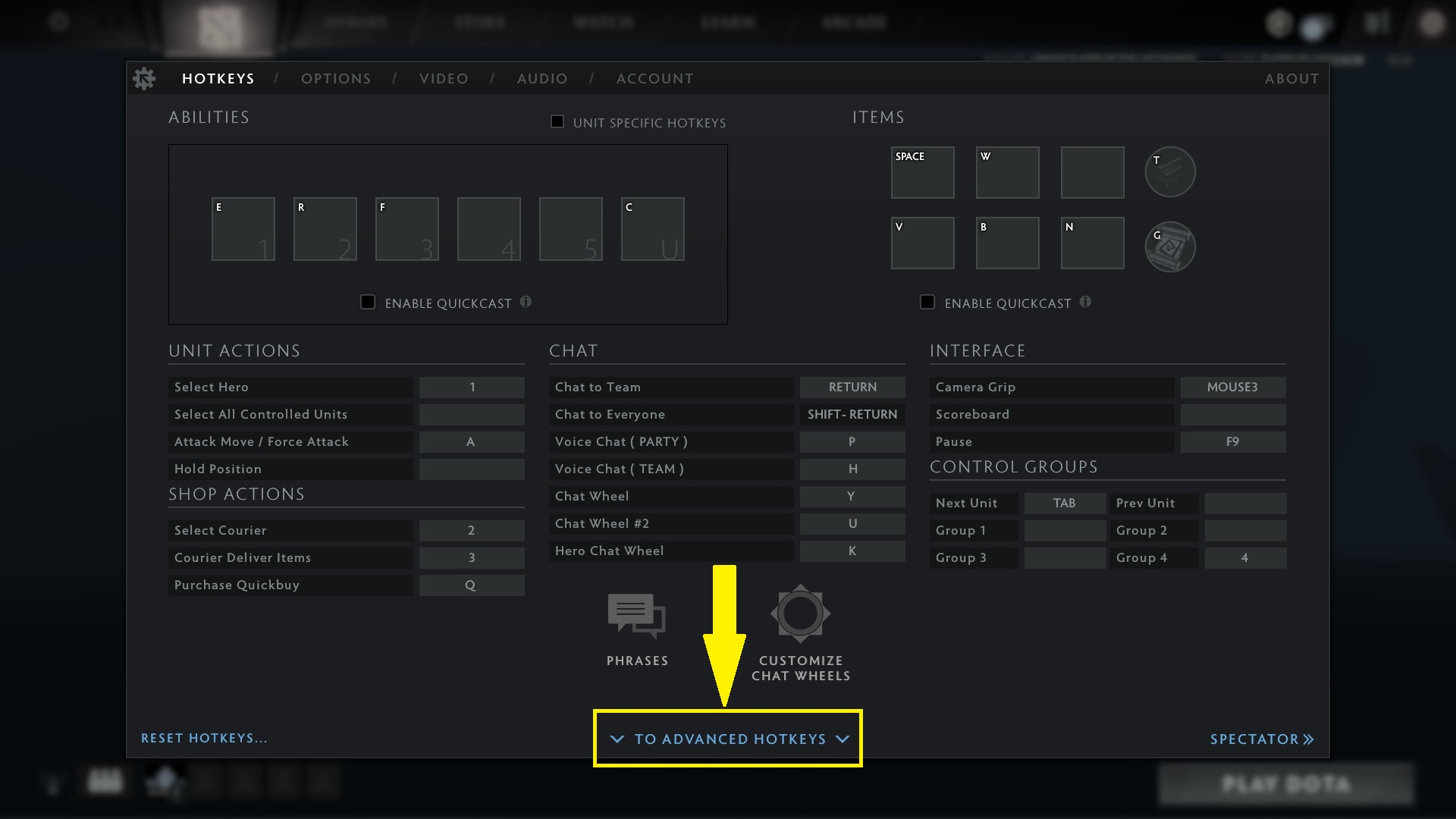 Dota 2 Hotkeys settings