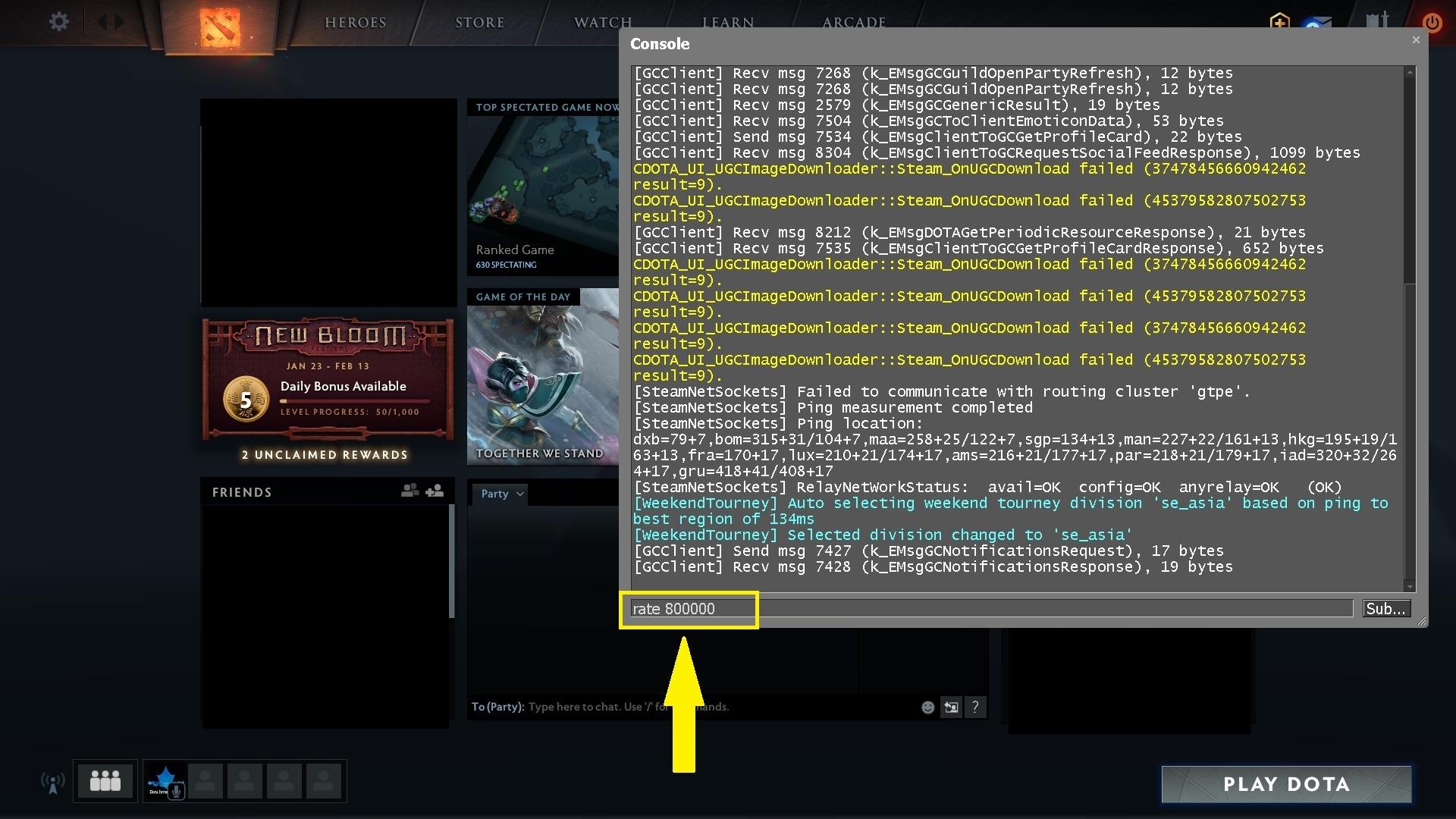 Dota 2 console command